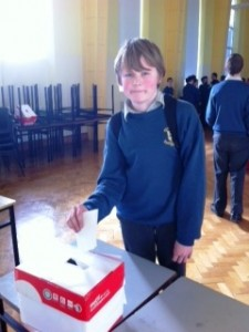 !st yr Eoghan gormley casting his vote
